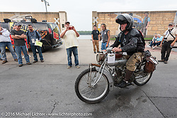 Ryan Allen of New Mexico riding his 1916 Indian in Cape Girardeau during the Motorcycle Cannonball Race of the Century. Stage-5 from Bloomington, IN to Cape Girardeau, MO. USA. Wednesday September 14, 2016. Photography ©2016 Michael Lichter.