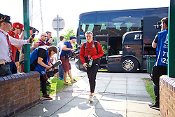 NEWPORT, WALES - Tuesday, June 12, 2018: Wales' Hannah Miles arrives before the FIFA Women's World Cup 2019 Qualifying Round Group 1 match between Wales and Russia at Newport Stadium. (Pic by David Rawcliffe/Propaganda)