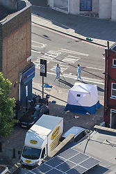 © Licensed to London News Pictures. 19/06/2017. London, UK. One man is known to be dead and several inured after a hired van was driven in to people outside a Somalian Restaurant on Whadcoat Street in Finsbury Park in North London .  Photo credit: Joel Goodman/LNP