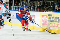 KELOWNA, CANADA - FEBRUARY 15: Griffin Reinhart #8 of the Edmonton OIl Kings skates with the puck against the Kelowna Rockets on February 15, 2012 at Prospera Place in Kelowna, British Columbia, Canada (Photo by Marissa Baecker/Getty Images) *** Local Caption *** Griffin Reinhart;
