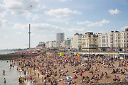 A busy seafront during the Brighton Pride Festival on the 4th August 2018 in Brighton in the United Kingdom.