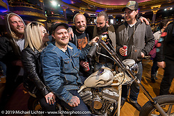 Steven Schwoegler on his 1985 custom Evo chopper built with Mike Nielsen of Denver, at the Mama Tried Show. Milwaukee, WI. USA. Saturday February 24, 2018. Photography ©2018 Michael Lichter.