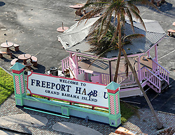 A view of the Freeport Harbour's welcome sign as seen from the Royal Caribbean's Mariner of the Seas cruise ship after arriving in Freeport, Bahamas, on Saturday, September 7, 2019. The ship delivered 10,000 meals and thousands of cases of bottled water to Freeport in the wake of Hurricane Dorian. Photo by Joe Burbank/Orlando Sentinel/TNS/ABACAPRESS.COM