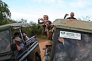Tourist photograph wildlife in Yala National Park (also known as Ruhunu National Park) in the Hambantota District of Sri Lanka. Much of the 979 km
