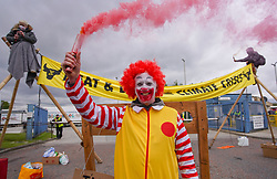 © Licensed to London News Pictures. 22/05/2021. Heywood ,UK. Animal Rebellion protesters gather outside a Mcdonald's distribution centre in Heywood, Manchester. Photo credit: Ioannis Alexopoulos/LNP