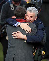 Owner Michael O'Leary celebrates after winning the Ryanair Steeple Chase with horse Balko Des Flos during St Patrick's Thursday of the 2018 Cheltenham Festival at Cheltenham Racecourse.