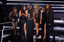 Fifth Harmony's Ally Brooke, Normani Kordei, Dinah Jane, Camila Cabello, and Lauren Jauregui with their award during the show at the MTV Video Music Awards 2016, Madison Square Garden, New York City.