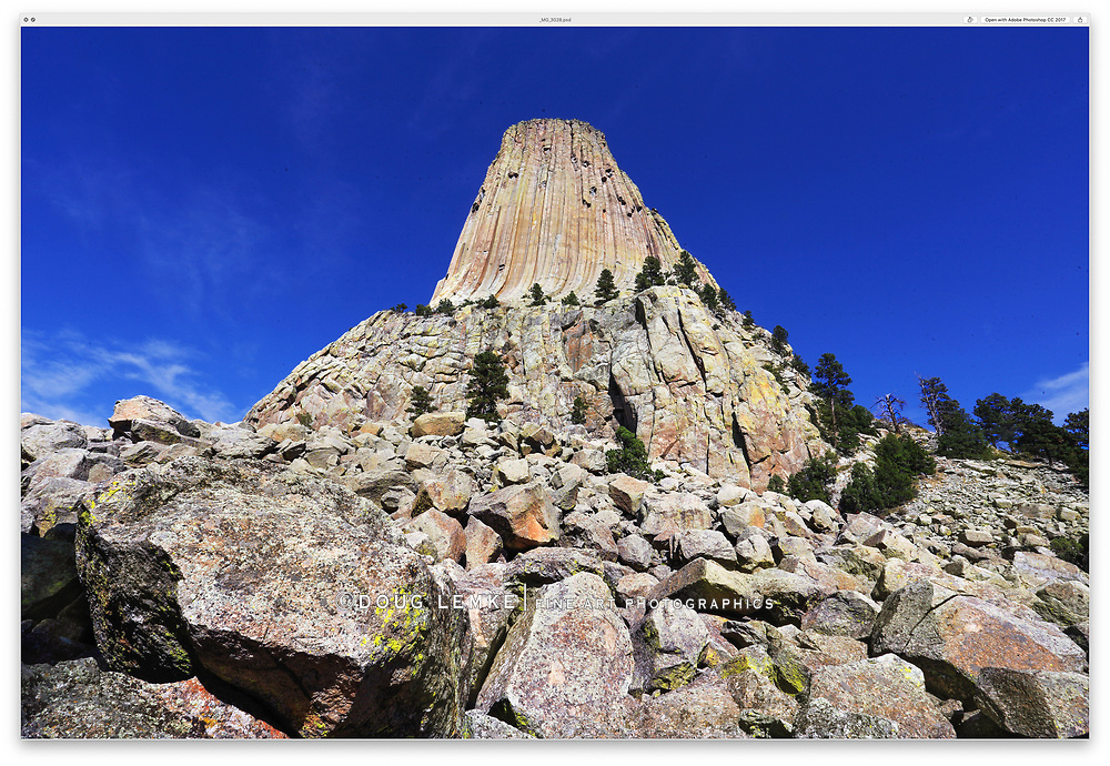 Devils Tower on a sunny day in Wyoming, USA