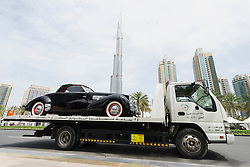 Vintage car awaiting unloading at the Emirates Classic Car Festival March 2015 in Downtown district of Dubai United Arab Emirates
