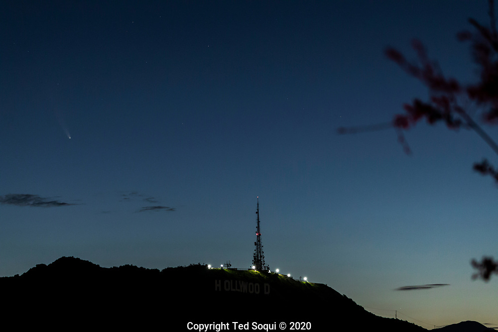 Comet Neowise in the early morning sky above the Hollywood sign.<br /> The comet came from deep space and does a 6766 year orbit.  <br /> 7/12/2020 Hollywood, CA USA<br /> (Photo by Ted Soqui)