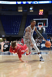 December 4, 2017 - University Park, PA, USA - Penn State guard Tony Carr collides with Wisconsin guard Brad Davison as Carr dribbles the ball down the court on Monday, Dec. 4, 2017 at the Bryce Jordan Center in University Park, Pa. (Credit Image: © Phoebe Sheehan/TNS via ZUMA Wire)