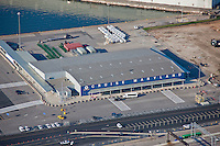 Aerial shot of the Maryland Cruiseterminal at the Port of Baltimore, Maryland Port Administration.