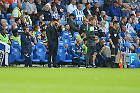 Football - 2021 / 2022 Premier League - Brighton & Hove Albion vs Watford - Amex Stadium - Saturday 21th August 2021<br /> <br /> Watford Head Coach Xisco Munoz can't bare to watch the final minutes at The Amex Stadium Brighton <br /> <br /> COLORSPORT/Shaun Boggust