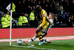 Johnny Russell of Derby County tackles Sone Aluko of Fulham - Mandatory by-line: Robbie Stephenson/JMP - 04/04/2017 - FOOTBALL - Pride Park Stadium - Derby, England - Derby County v Fulham - Sky Bet Championship