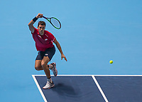 Tennis - 2019 Nitto ATP Finals at The O2 - Day Two<br /> <br /> Doubles Group Max Mirnyi: Kevin Krawietz (GER) & Andreas Mies (GER) Vs. Jean-Julien Rojer (NED) & Horia Tecau (ROM)<br /> <br /> Andreas Mies (GER) with a return of serve  <br /> <br /> COLORSPORT/DANIEL BEARHAM