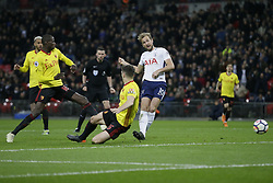 BRITAIN-LONDON-FOOTBALL-PREMIER LEAGUE-TOTTENHAM HOTSPUR VS WATFORD.(180430) -- LONDON, April 30, 2018  Tottenham Hotspur's Harry Kane (R) scores a goal during the Premier League football match between Tottenham Hotspur and Watford at Wembley Stadium in London, Britain on April 30, 2018.  Tottenham Hotspur won 2-0.  FOR EDITORIAL USE ONLY. NOT FOR SALE FOR MARKETING OR ADVERTISING CAMPAIGNS. NO USE WITH UNAUTHORIZED AUDIO, VIDEO, DATA, FIXTURE LISTS, CLUB/LEAGUE LOGOS OR ''LIVE'' SERVICES. ONLINE IN-MATCH USE LIMITED TO 45 IMAGES, NO VIDEO EMULATION. NO USE IN BETTING, GAMES OR SINGLE CLUB/LEAGUE/PLAYER PUBLICATIONS. (Credit Image: © Tim Ireland/Xinhua via ZUMA Wire)
