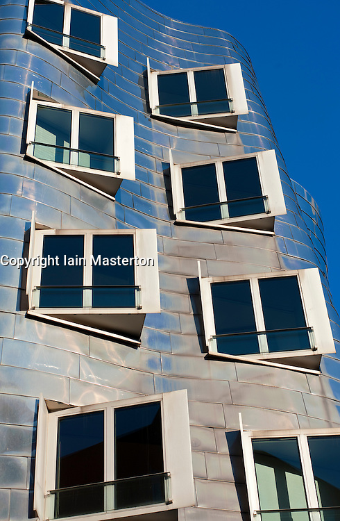 Neuer Zollhof building designed by Frank Gehry in modern property development at Media Harbour or Medienhafen in Dusseldorf Germany