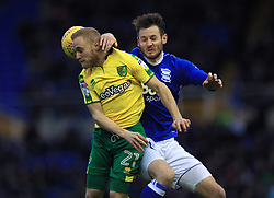 Birmingham City's Jonathan Grounds and Norwich City's Alex Pritchard battle for the ball