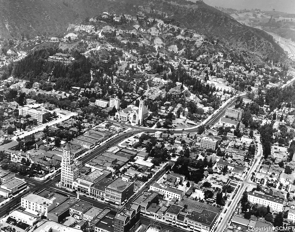 1940 Looking NW at Hollywood Blvd. and Highland Ave.
