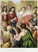 Jesus before Pilate. 'Bible' John 18.  By Pilate is his Lictor, a Roman magistrate's attendant, carrying the Fasces, an axe tied in a bundle of sticks, the magistrate's badge of office.  Mid-19th century chromolithograph
