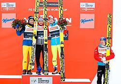 19.03.2017, Vikersundbakken, Vikersund, NOR, FIS Weltcup Ski Sprung, Raw Air, Vikersund, Finale, im Bild Noriaki Kasai (JPN, 2. Platz), Tagessieger Kamil Stoch (POL), Michael Hayboeck (AUT, 3. Platz), RAW Air Gesamtsieger Stefan Kraft (AUT) // 2nd placed Noriaki Kasai of Japan, Day Winner Kamil  Stoch of Poland, 3rd placed Michael  Hayboeck of Austria, RAW Air Overall Winner Stefan  Kraft of Austria  //  during the 4th Stage of the Raw Air Series of FIS Ski Jumping World Cup at the Vikersundbakken in Vikersund, Norway on 2017/03/19. EXPA Pictures © 2017, PhotoCredit: EXPA/ Tadeusz Mieczynski