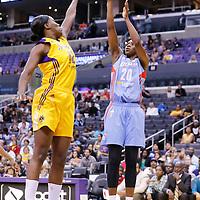 08 August 2014: Atlanta Dream forward Sancho Lyttle (20) takes a jump shot over Los Angeles Sparks center Jantel Lavender (42) during the Los Angeles Sparks 80-77 overtime win over the Atlanta Dream, at the Staples Center, Los Angeles, California, USA.