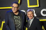 Peter Mayhew with Harrison Ford -  The European Premiere of STAR WARS: THE FORCE AWAKENS - Odeon, Empire and Vue Cinemas, Leicester Square, London.
