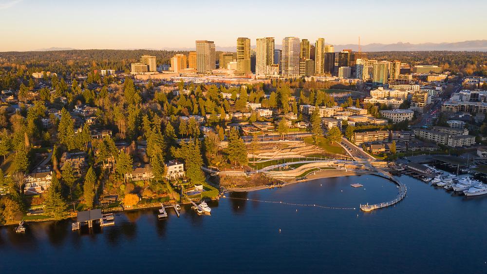 United States, Washington, Bellevue, Meydenbauer Park, Meydenbauer Bay, and dowtown skyline (aerial view)