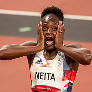 TOKYO, JAPAN - JULY 31:   Daryll Neita reacts after making the final as a fastest loser in the 100m semi finals for women during the Athletics competition at the Olympic Stadium at the Tokyo 2020 Summer Olympic Games on July 31, 2021 in Tokyo, Japan. (Photo by Tim Clayton/Corbis via Getty Images)