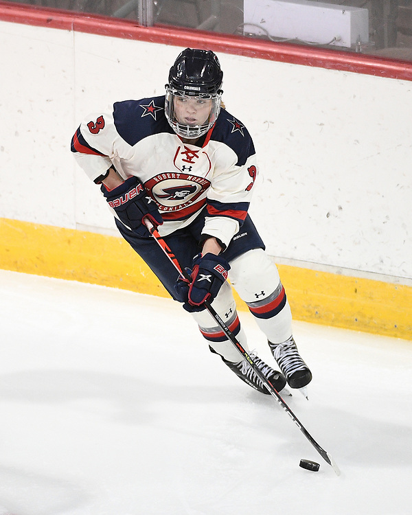 ERIE, PA - MARCH 06: Gillian Thompson #3 of the Robert Morris Colonials skates with the puck in the first period during the CHA Tournament Championship game against the Syracuse Orange at the Erie Insurance Arena on March 6, 2021 in Erie, Pennsylvania. (Photo by Justin Berl/Robert Morris Athletics)