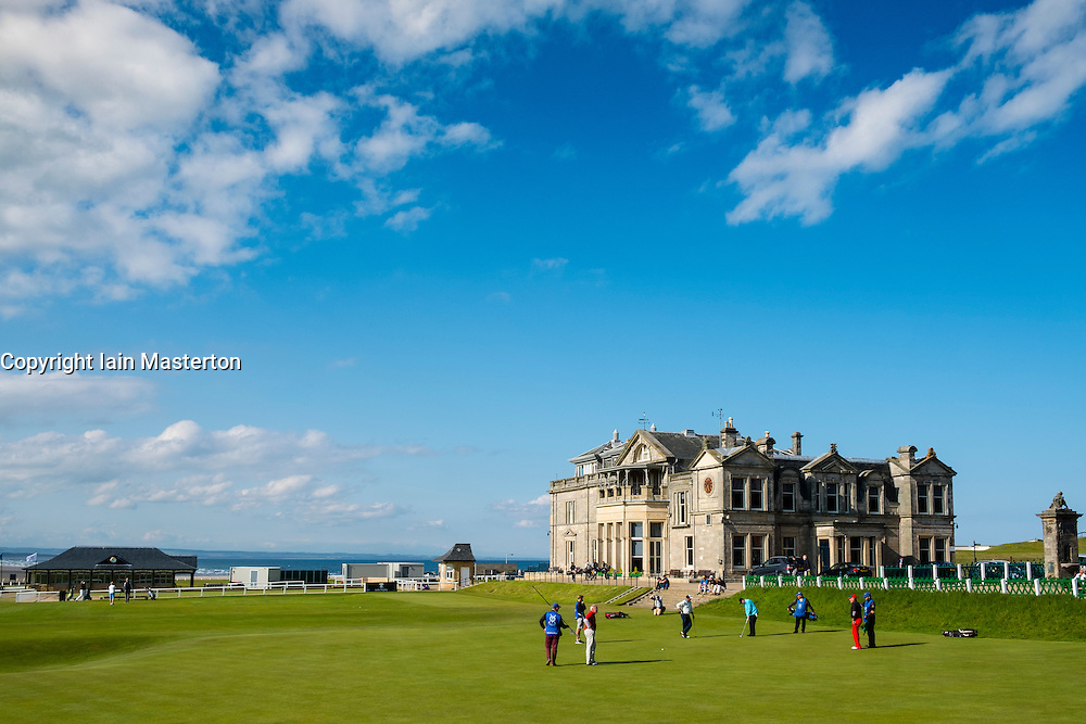 The Royal and Ancient Clubhouse beside 18th green on Old Course at St Andrews golf course in Fife, Scotland, united Kingdom
