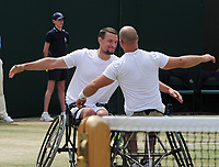 Tennis - 2019 Wimbledon Championships - Week Two, Saturday (Day Twelve)<br /> <br /> Men's Final of the Wheelchair doubles<br /> <br /> Alfie Hewett and Gordon Reid (GBR) v Joachim Gerard (BEL) v Stefan Olsson (SWE)<br /> <br /> Joachim Gerard v Stefan Olsson celebrate winning match point on Court 3.<br /> <br /> COLORSPORT/ANDREW COWIE