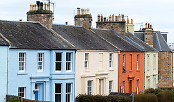 Row of colourful houses in North Berwick, East Lothian, Scotland, United Kingdom