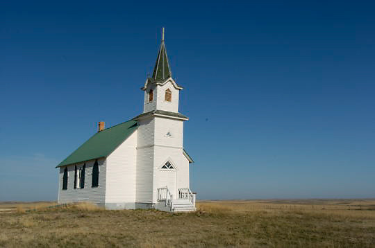 Isolated church on the prairie for nomadic people moving through you drop in to pray. Charles M. Russell National Wildlife Refuge. Montana.