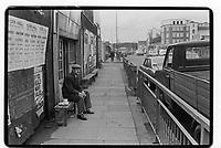 Man having his tea break in the East End of London, 1982. South-East London, 1982