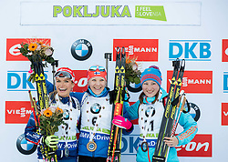 Second placed Gabriela Soukalova (CZE), winner Kaisa Makarainen (FIN) and third placed Olga Podchufarova (RUS) celebrate at medal ceremony after the Women 12.5 km Mass Start at day 4 of IBU Biathlon World Cup 2015/16 Pokljuka, on December 20, 2015 in Rudno polje, Pokljuka, Slovenia. Photo by Vid Ponikvar / Sportida