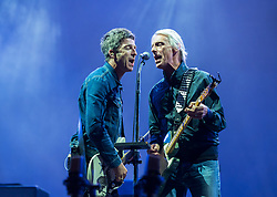 © Licensed to London News Pictures. 01/09/2018. Bristol, UK. The Downs Festival on The Downs in Bristol. Picture of NOEL GALLAGHER (with HIGH FLYING BIRDS) with PAUL WELLER guesting for 'A Town Called Malice' on the main stage. The one day festival is taking place for the third year and features headliners Noel Gallagher's High Flying Birds, Paul Weller, and Orbital. Photo credit: Simon Chapman/LNP