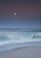 Surf from tropical storm Bertha and the full moon at twilight made this a magical evening at Nauset Beach.