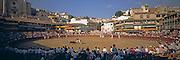 SPAIN, SPORTS; BULLFIGHTING Traditional corrida in Chinchon a 'Rejoneo' or fight on horseback Rejoneador using banderillas