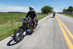 Vern Acres of Ontario, Canada riding his 4-cylinder 1914 Henderson class-2 motorcycle during the Motorcycle Cannonball Race of the Century. Stage-4 from Chillicothe, OH to Bloomington, IN. USA. Tuesday September 13, 2016. Photography ©2016 Michael Lichter.