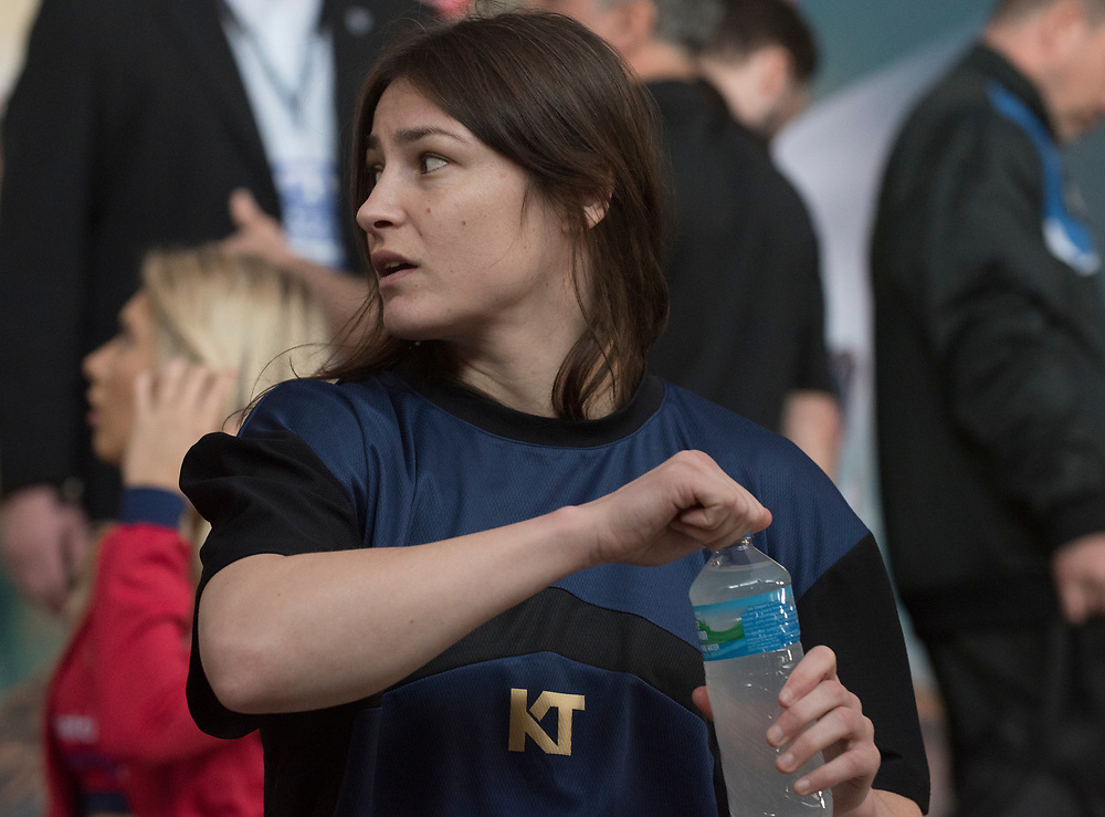 Katie Taylor at the Weigh In for Matchroom Boxing in Philadelphia, March 14, 2019. <br /> <br /> Jack Megaw. All Rights Reserved.