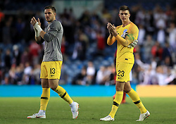 England's Jack Butland (left) and England's Nick Pope applaud the fans after the final whistle during the International Friendly match at Elland Road, Leeds.