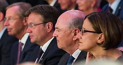 22.06.2015, Orangerie Schönnbrunn, Wien, AUT, ÖVP, Feier anlässlich des 70. Geburtstag vom ehemaligen Bundeskanzler Schüssel. im Bild v.l.n.r. Landeshauptmann Salzburg Wilfried Haslauer (ÖVP), Landeshauptmann Tirol Günther Platter (ÖVP), Landeshauptmann Niederösterreich Erwin Pröll (ÖVP) und Bundesministerin für Inneres Johanna Mikl-Leitner (ÖVP) // during celebration according to 70th birthday of former chancellor Schuessel of the austrian people's party at Schoenbrunn in Vienna, Austria on 2015/06/22. EXPA Pictures © 2015, PhotoCredit: EXPA/ Michael Gruber
