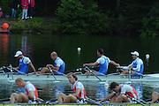Lucerne, SWITZERLAND, Men's Quadruple Sculls. final. Gold. ITA.M4X. Simone RAINERI, Rossano GALTAROSSA. Alessio SARTORI.  Agostino ABBAGNALE. Silver NED. M4X. Jochem VERBERNE. Dirk LIPPITS, Diederik SIMON, Michiel BARTMAN. 2000 FISA World Cup, Rotsee Rowing Course, June 2000.  [Mandatory Credit, Peter Spurrier/Intersport-images]. 2000 FISA World Cup, Lucerne, SWITZERLAND