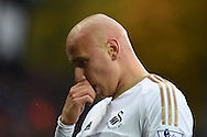 Jonjo Shelvey of Swansea city looks on.Barclays Premier league match, Aston Villa v Swansea city at Villa Park in Birmingham, the Midlands on Saturday 24th October 2015.<br /> pic by  Andrew Orchard, Andrew Orchard sports photography.