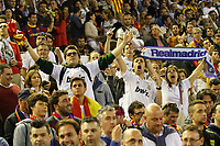 Real Madrid´s supporters during the Spanish Copa del Rey `King´s Cup´ final soccer match between Real Madrid and F.C. Barcelona at Mestalla stadium, in Valencia, Spain. April 16, 2014. (ALTERPHOTOS/Victor Blanco)