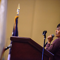 Dawn Melvin with the Arizona Department of Tourism makes a presentation during the Navajo Nation Economic Summit at Twin Arrows Casino near Flagstaff Wednesday.