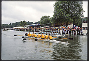 Henley, Great Britain,  Hampton School taking a victory over Eton Collage, in the Princess Elizabeth Challenge Cup, 1988 Henley Royal Regatta, Henley Reach, River Thames, Annual Event. [Mandatory credit: Peter Spurrier/Intersport Images]