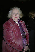 Gillian Ayres, Hogarth private view and dinner. Tate Britain. London. 5 February 2007.  -DO NOT ARCHIVE-© Copyright Photograph by Dafydd Jones. 248 Clapham Rd. London SW9 0PZ. Tel 0207 820 0771. www.dafjones.com.