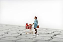 SYMBOLBILD - Online-Shopping, Miniaturmodell einer Frauen mit Einkaufswagen auf Tastatur // Online shopping, Miniature model of a women with shopping carts on keyboard. EXPA Pictures © 2015, PhotoCredit: EXPA/ Eibner-Pressefoto/ Weber<br /> <br /> *****ATTENTION - OUT of GER*****